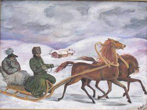 Flucht Napoleon aus Russland 1812, Gemälde G. Gelfus